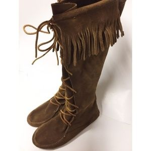 Minnetonka Front Lace Knee High Fringed Boots SZ 9